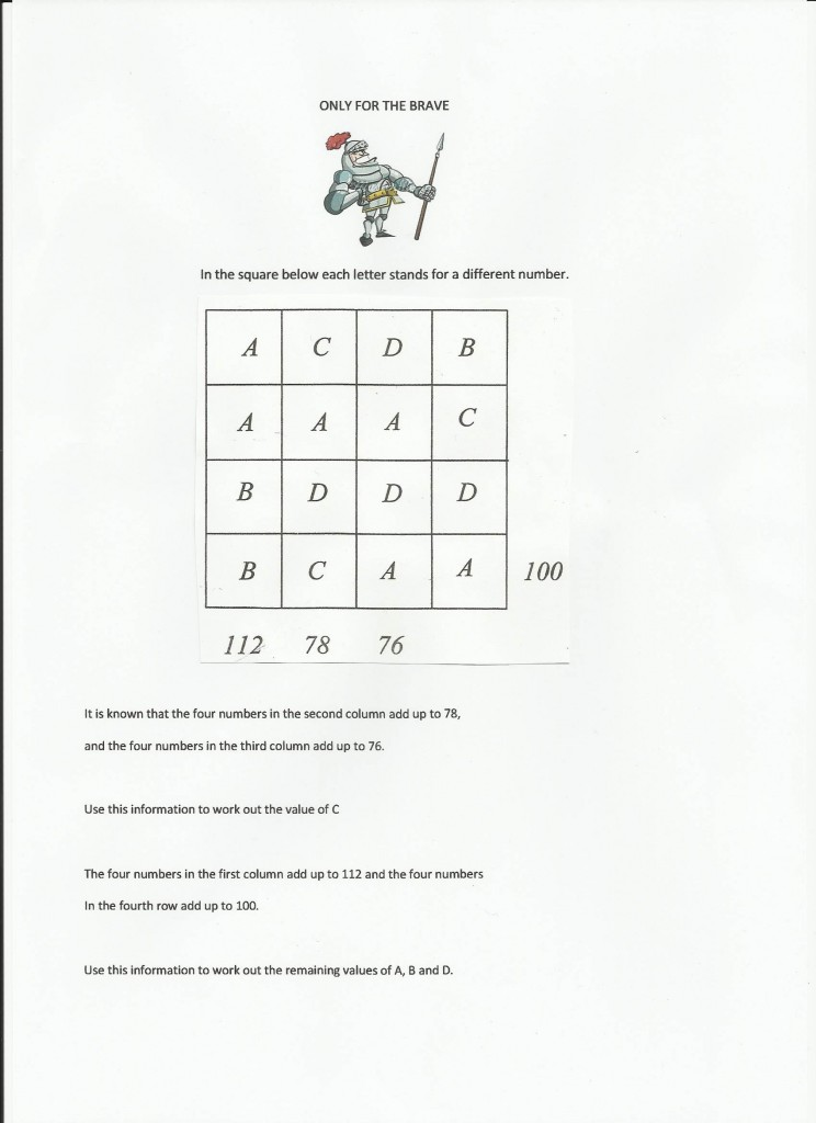 Maths Tutor St. Albans puzzle Only for the brave