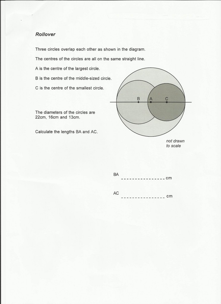 Maths puzzle Rollover by Maths Tutor St. Albans